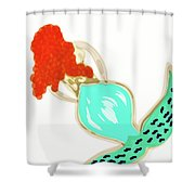 Pin Up Redhead Mermaid Shower Curtain
