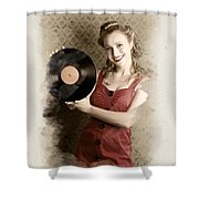 Pin-up Rockabilly Woman Holding Vinyl Record Lp Shower Curtain