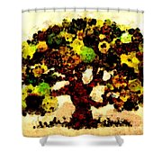 Pinatamiche Tree Painting In Crackle Paint Shower Curtain