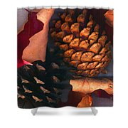 Pine Cones And Leaves Shower Curtain