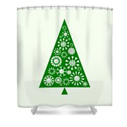 Pine Tree Snowflakes - Green Shower Curtain