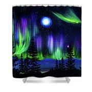 Pine Trees In Aurora Borealis Shower Curtain
