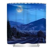 Pine Trees Near Valley In Mountains And Autumn Forest On Hillsid Shower Curtain