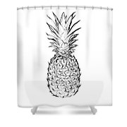 Pineapple Black And White Shower Curtain
