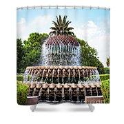 Pineapple Fountain In Charleston South Carolina Shower Curtain
