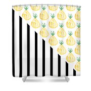 Pineapples And Stripes Shower Curtain