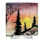 Pines In Rocks Shower Curtain