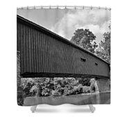 Pinetown Bushong's Covered Bridge Black And White Shower Curtain