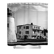 Piney Point Lighthouse - Mayland - Black And White Shower Curtain