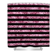 Pink And Black Glitter Sequin Stripes Shower Curtain
