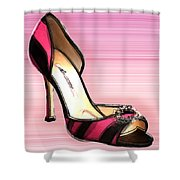 Pink And Black Stripe Shoe Shower Curtain