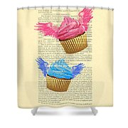 Pink And Blue Cupcakes Vintage Dictionary Art Shower Curtain