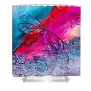 Pink And Blue Dragonflies Shower Curtain