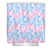Pink And Blue Elephant Pattern Shower Curtain