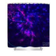 Pink And Blue Moss Fractal Shower Curtain
