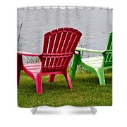 Pink And Green Lounging Chairs By The Lake Shower Curtain by Louise Heusinkveld