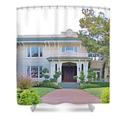 Pink And Green Mansion Shower Curtain