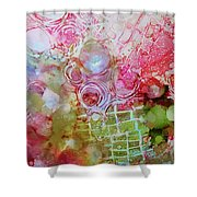 Pink And Green Patterns Shower Curtain by Kate Word