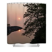 Pink And Green Summer - Soft Misty Sunrise On The Lake Shower Curtain