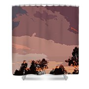 Pink And Mauve Sky Abstract Shower Curtain