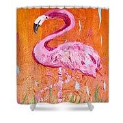Pink And Orange Flamingo  Shower Curtain