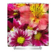 Pink And Orange Shower Curtain