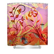 Pink And Purple Flower Medley Shower Curtain