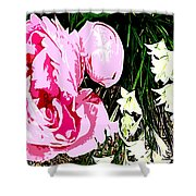 Pink And White Flowers Shower Curtain