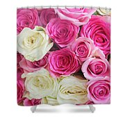 Pink And White Roses Bunch Shower Curtain
