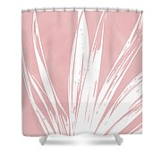 Pink And White Tropical Leaf- Art By Linda Woods Shower Curtain by Linda Woods