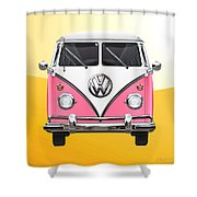 Pink And White Volkswagen T 1 Samba Bus On Yellow Shower Curtain by Serge Averbukh