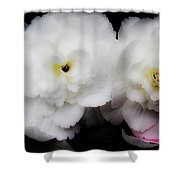 Pink And Yellow On White 3 Shower Curtain