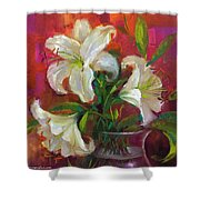 Pink Angel White Lilies Shower Curtain