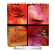 Pink Azalea Project Tetraptych Collage Shower Curtain