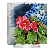 Pink Begonias Shower Curtain