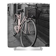 Pink Bicycle In Rome Shower Curtain