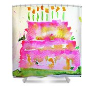 Pink Birthday Cake Shower Curtain