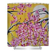 Pink Blossoms / Yellow Skies Shower Curtain