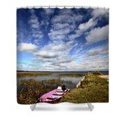 Pink Boat In Scenic Saskatchewan Shower Curtain