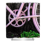 Pink Bycycle Resting On A Tree Shower Curtain