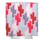 Pink Cactus Pattern Shower Curtain