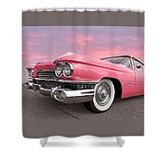 Pink Cadillac Sunset Shower Curtain