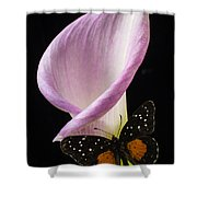 Pink Calla Lily With Butterfly Shower Curtain