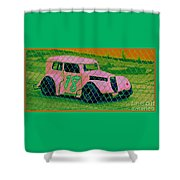 Pink Car Shower Curtain