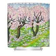 Pink Cherry Garden In Blossom Shower Curtain