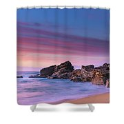 Pink Clouds And Rocky Headland Seascape Shower Curtain