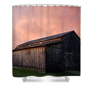 Pink Clouds Over Barn Shower Curtain