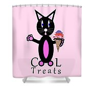 Pink Cool Treats - Cat Typography Shower Curtain