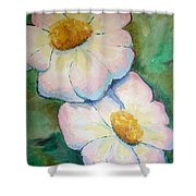 Pink Disc Flowers Shower Curtain