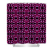 Pink Dots Pattern On Black Shower Curtain